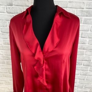 Sag Harbor Red silky ruffle button up blouse top M